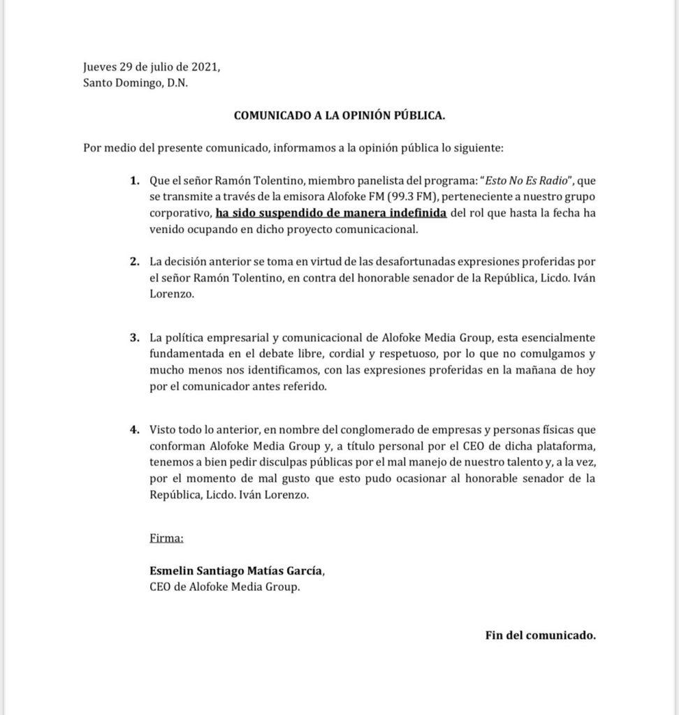 Ramón Tolentino es suspendido de «Esto No es Radio» por incidente con senador Iván Lorenzo